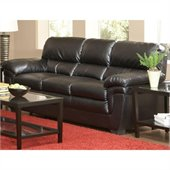 Coaster Fenmore Casual Split Back Faux Leather Sofa in Black