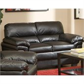 Coaster Fenmore Casual Ultra Plush Faux Leather Love Seat in Black