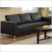 Coaster Cooper Faux Leather Sofa in Black