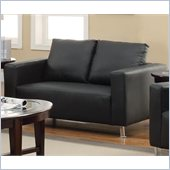 Coaster Cooper Faux Leather Love Seat in Black