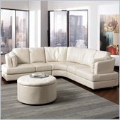 Coaster Landen Contemporary Curved Leather Sectional in Cream