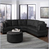 Coaster Landen Contemporary Curved Leather Sectional in Black