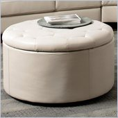 Coaster Landen 5 Piece Round Leather Storage Cocktail Ottoman in Cream