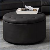 Coaster Landen 5 Piece Round Leather Storage Cocktail Ottoman in Black