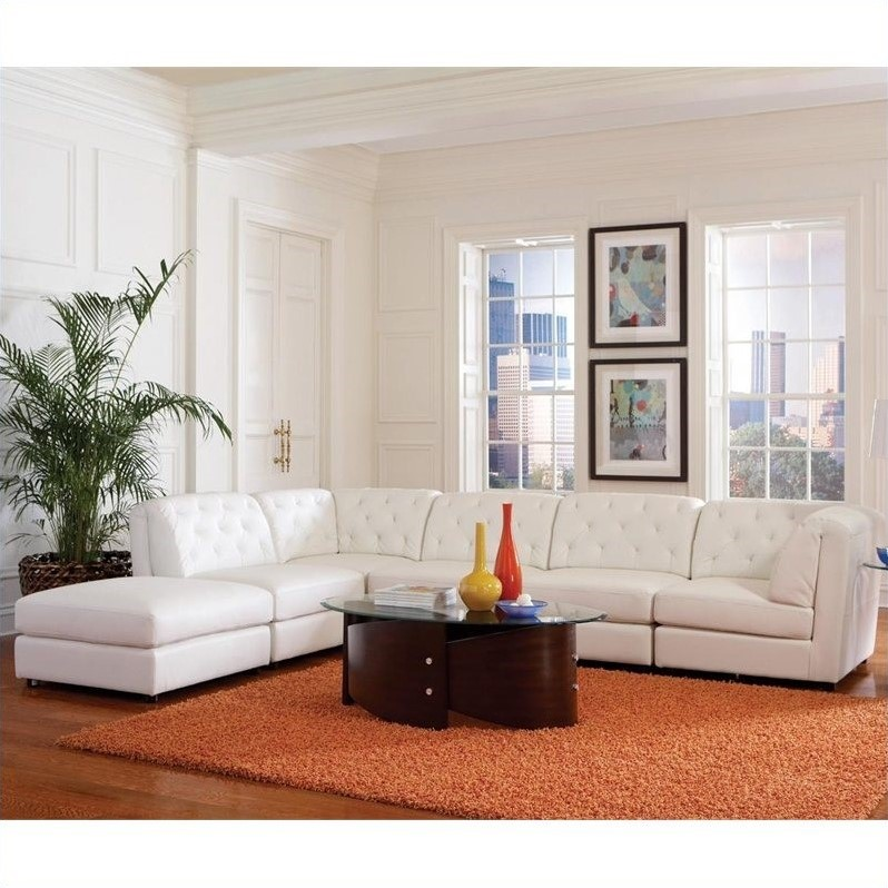 Coaster Quinn Transitional Modular Leather Sectional Sofa in White