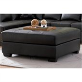 Coaster Darie Leather Cocktail Ottoman in Black