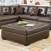 Coaster Darie Leather Cocktail Ottoman in Brown