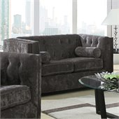 Coaster Alexis Transitional Microvelvet Love Seat in Charcoal