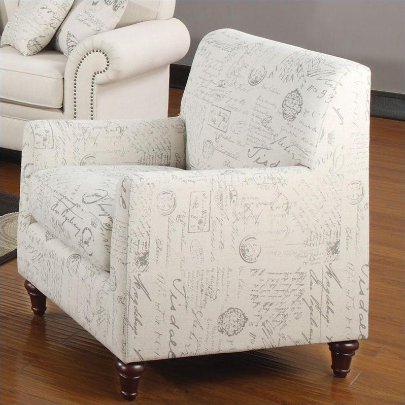 Norah Accent Arm Chair in French Script Pattern