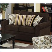 Coaster Rosalie Stationary Loveseat with Accent Pillows in Dark Brown