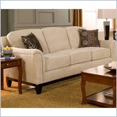 Coaster Carver Sofa with Exposed Wood Base in Beige Chenille
