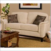 Coaster Carver Love Seat with Exposed Wood Base in Beige Chenille