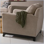 Coaster Carver Arm Chair with Exposed Wood Base in Beige Chenille