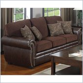 Coaster Florence Chenille Fabric/Vinyl Sofa in Chocolate