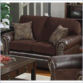 Coaster Florence Chenille Fabric/Vinyl Love Seat in Chocolate