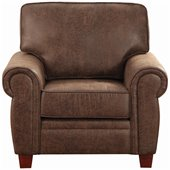 Coaster Bentley Rustic Styled Microfiber Club Chair in Brown