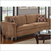 Coaster Marya Sofa with Accent Pillows in Caramel Chenille