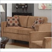 Coaster Marya Love Seat with Accent Pillows in Caramel Chenille