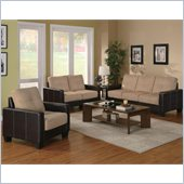 Coaster Regatta Contemporary 3 Piece Sofa Set in Khaki and Brown