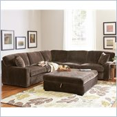 Coaster Luka Casual L-Shaped Sectional in Coffee Velvet