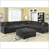 Coaster Luka Casual L-Shaped Sectional in Charcoal Velvet