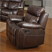 Coaster Myleene Leather Glider Recliner Chair in Brown