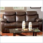 Coaster Denisa Three Seat Reclining Leather Sofa in Rich Brown