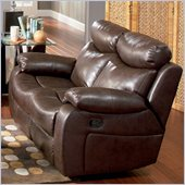 Coaster Denisa Reclining Leather Love Seat in Rich Brown