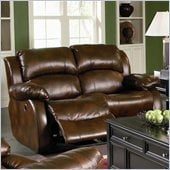 Coaster Morrell Love Seat with 2 Recliners in Rich Brown