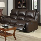 Coaster Boston Three Seat Reclining Faux Leather Sofa in Brown