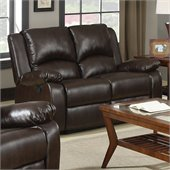 Coaster Boston Double Reclining Faux Leather Love Seat in Brown