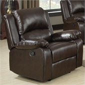 Coaster Boston Faux Leather Recliner Chair in Brown