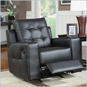Coaster Tempe Leather Rocker Recliner Chair in Black Bonded Leather