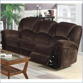 Coaster Ajay Casual Motion Sofa in Chocolate Velvet