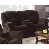 Coaster Ajay Casual Double Gliding Loveseat in Chocolate Velvet