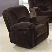 Coaster Ajay Casual Rocker Recliner in Chocolate Velvet