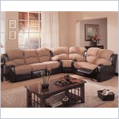 Coaster Gulliver Microfiber and Vinyl Reclining Sectional in Mocha