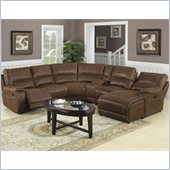 Coaster Loukas Reclining Sectional Sofa with Chaise in Brown