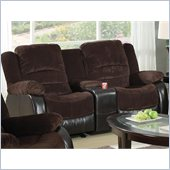 Coaster Johanna Reclining Corduroy Love Seat in Chocolate
