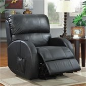 Coaster Top Grain Leather Power Lift Recliner Chair in Black