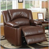 Coaster Bonded Leather Power Recliner Chair with Storage Arms in Brown