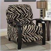 Coaster Upholstered Push Back Recliner Chair in Zebra Print
