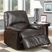Coaster Split Back Vinyl Glider Recliner Chair in Dark Brown