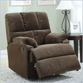 Coaster Smooth Velvet Rocking Recliner Chair in Chocolate