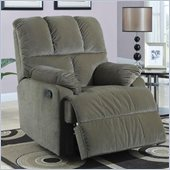 Coaster Smooth Velvet Rocker Recliner Chair in Sage