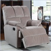 Coaster Smooth Velvet Rocking Recliner Chair in Beige
