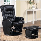 Coaster Deluxe Faux Leather Glider with Ottoman in Black
