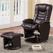 Coaster Glider Recliner Chair with Matching Ottoman in Brown Vinyl