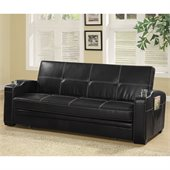 Coaster Faux Leather Sofa Bed with Storage and Cup Holders in Black