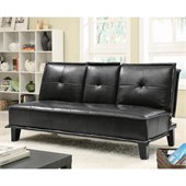 Coaster Contemporary Faux Leather Sofa with Tray in Black